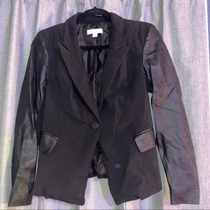 New York & Company black faux leather blazer